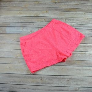 Free People Hot Pink Lace Overlay Shorts